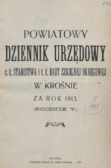 """Spis alfabetyczny treści """"Powiatowego Dziennika Urzędowego"""" z roku 1913"""