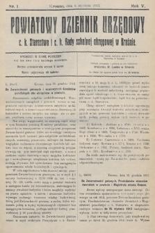 Powiatowy Dziennik Urzędowy c.k. Starostwa i c.k. Rady szkolnej okręgowej wKrośnie. 1913, nr1