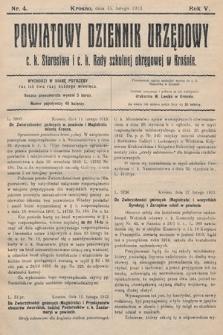 Powiatowy Dziennik Urzędowy c.k. Starostwa i c.k. Rady szkolnej okręgowej wKrośnie. 1913, nr4