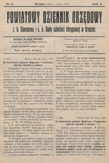 Powiatowy Dziennik Urzędowy c.k. Starostwa i c.k. Rady szkolnej okręgowej wKrośnie. 1913, nr5