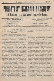 Powiatowy Dziennik Urzędowy c.k. Starostwa i c.k. Rady szkolnej okręgowej wKrośnie. 1913, nr8