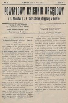 Powiatowy Dziennik Urzędowy c.k. Starostwa i c.k. Rady szkolnej okręgowej wKrośnie. 1913, nr9