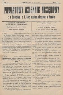 Powiatowy Dziennik Urzędowy c.k. Starostwa i c.k. Rady szkolnej okręgowej wKrośnie. 1913, nr12