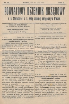 Powiatowy Dziennik Urzędowy c.k. Starostwa i c.k. Rady szkolnej okręgowej wKrośnie. 1913, nr13