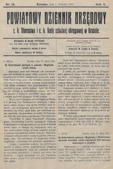Powiatowy Dziennik Urzędowy c.k. Starostwa i c.k. Rady szkolnej okręgowej wKrośnie. 1913, nr14