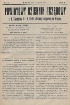 Powiatowy Dziennik Urzędowy c.k. Starostwa i c.k. Rady szkolnej okręgowej wKrośnie. 1913, nr15