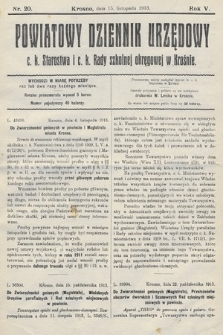 Powiatowy Dziennik Urzędowy c.k. Starostwa i c.k. Rady szkolnej okręgowej wKrośnie. 1913, nr20