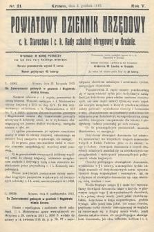 Powiatowy Dziennik Urzędowy c.k. Starostwa i c.k. Rady szkolnej okręgowej wKrośnie. 1913, nr21