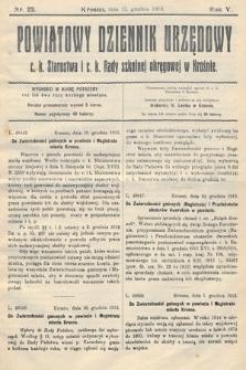 Powiatowy Dziennik Urzędowy c.k. Starostwa i c.k. Rady szkolnej okręgowej wKrośnie. 1913, nr22