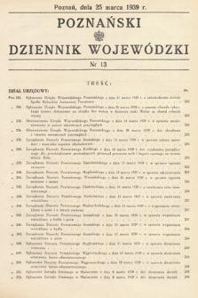 Poznański Dziennik Wojewódzki. 1939, nr13