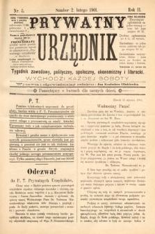 Prywatny Urzędnik : tygodnik zawodowy, polityczny, społeczny, ekonomiczny i literacki. 1901, nr5