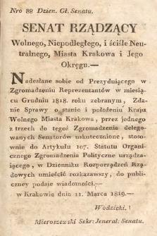 Dziennik Rozporządzeń Rządowych Wolnego, Niepodległego i Ściśle Neutralnego Miasta Krakowa i jego Okręgu. 1819