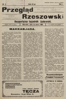 Przegląd Rzeszowski : bezpartyjny tygodnik żydowski. 1932, nr2
