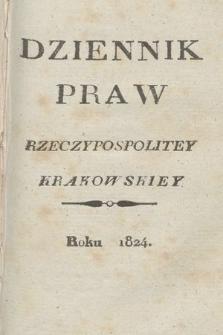 Dziennik Praw Rzeczypospolitey Krakowskiey. 1824