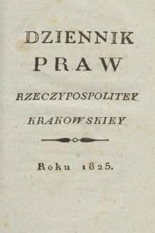 Dziennik Praw Rzeczypospolitey Krakowskiey. 1825