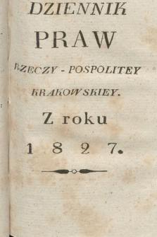 Dziennik Praw Rzeczypospolitey Krakowskiey. 1827