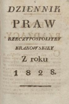 Dziennik Praw Rzeczypospolitey Krakowskiey. 1828
