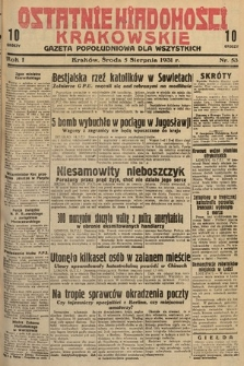 Ostatnie Wiadomości Krakowskie : gazeta popołudniowa dla wszystkich. 1931, nr53