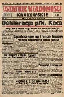 Ostatnie Wiadomości Krakowskie. 1937, nr52