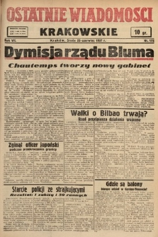 Ostatnie Wiadomości Krakowskie. 1937, nr172