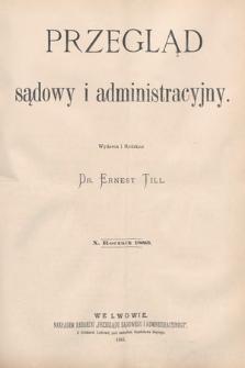 Przegląd Sądowy i Administracyjny. 1885 [całość]