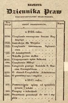 Rejestr Dziennika Praw Rzeczypospolitey Krakowskiey. 1816-1830