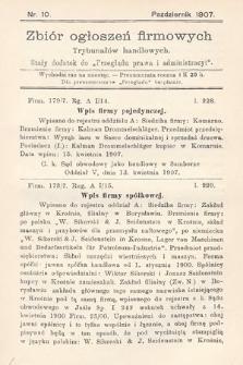 """Zbiór ogłoszeń firmowych trybunałów handlowych : stały dodatek do """"Przeglądu Prawa i Administracyi"""". 1907, nr10"""