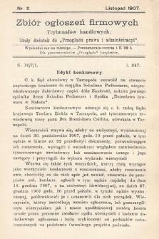 """Zbiór ogłoszeń firmowych trybunałów handlowych : stały dodatek do """"Przeglądu Prawa i Administracyi"""". 1907, nr11"""