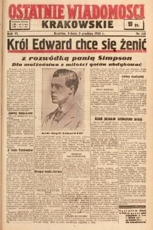 Ostatnie Wiadomości Krakowskie. 1936, nr341