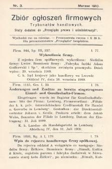 """Zbiór ogłoszeń firmowych trybunałów handlowych : stały dodatek do """"Przeglądu Prawa i Administracyi"""". 1910, nr3"""