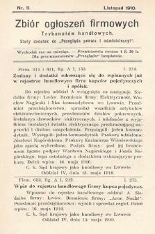 """Zbiór ogłoszeń firmowych trybunałów handlowych : stały dodatek do """"Przeglądu Prawa i Administracyi"""". 1910, nr11"""