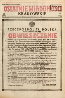 Ostatnie Wiadomości Krakowskie. 1933, nr252
