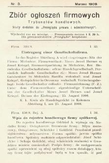 """Zbiór ogłoszeń firmowych trybunałów handlowych : stały dodatek do """"Przeglądu Prawa i Administracyi"""". 1909, nr 3"""