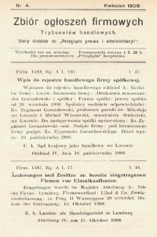 """Zbiór ogłoszeń firmowych trybunałów handlowych : stały dodatek do """"Przeglądu Prawa i Administracyi"""". 1909, nr 4"""