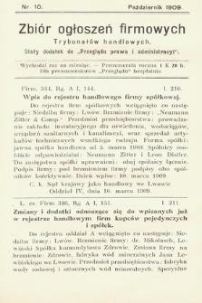 """Zbiór ogłoszeń firmowych trybunałów handlowych : stały dodatek do """"Przeglądu Prawa i Administracyi"""". 1909, nr 10"""