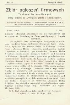 """Zbiór ogłoszeń firmowych trybunałów handlowych : stały dodatek do """"Przeglądu Prawa i Administracyi"""". 1909, nr 11"""