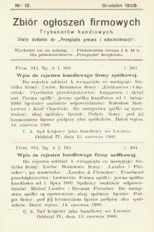 """Zbiór ogłoszeń firmowych trybunałów handlowych : stały dodatek do """"Przeglądu Prawa i Administracyi"""". 1909, nr 12"""