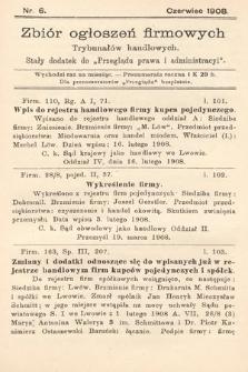 """Zbiór ogłoszeń firmowych trybunałów handlowych : stały dodatek do """"Przeglądu Prawa i Administracyi"""". 1908, nr6"""