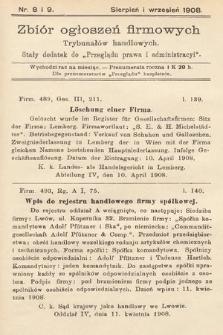 """Zbiór ogłoszeń firmowych trybunałów handlowych : stały dodatek do """"Przeglądu Prawa i Administracyi"""". 1908, nr8"""