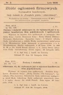 """Zbiór ogłoszeń firmowych trybunałów handlowych : stały dodatek do """"Przeglądu Prawa i Administracyi"""". 1905, nr2"""