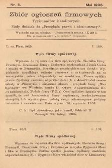 """Zbiór ogłoszeń firmowych trybunałów handlowych : stały dodatek do """"Przeglądu Prawa i Administracyi"""". 1905, nr5"""
