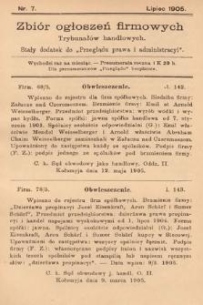 """Zbiór ogłoszeń firmowych trybunałów handlowych : stały dodatek do """"Przeglądu Prawa i Administracyi"""". 1905, nr7"""