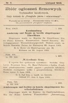 """Zbiór ogłoszeń firmowych trybunałów handlowych : stały dodatek do """"Przeglądu Prawa i Administracyi"""". 1905, nr11"""