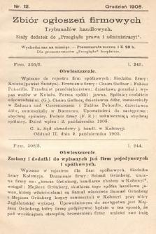 """Zbiór ogłoszeń firmowych trybunałów handlowych : stały dodatek do """"Przeglądu Prawa i Administracyi"""". 1905, nr12"""