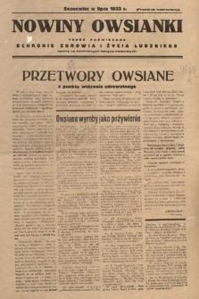 Nowiny Owsianki : treść poświęcona ochronie zdrowia iżycia ludzkiego oparta na konkretnych danych naukowych. 1933