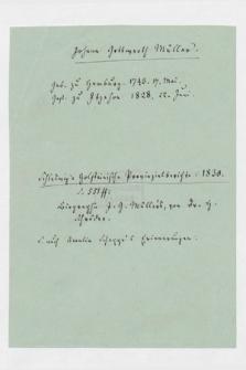 Autografy J.G. Müllera i inne materiały z nim związane