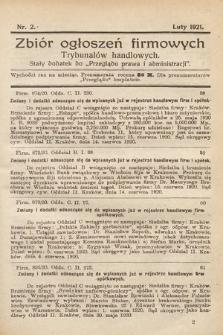 """Zbiór ogłoszeń firmowych trybunałów handlowych : stały dodatek do """"Przeglądu Prawa i Administracji"""". 1921, nr2"""