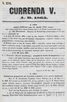 Currenda. 1865, kurenda5