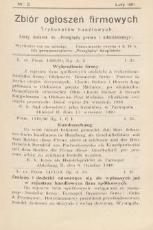 """Zbiór ogłoszeń firmowych trybunałów handlowych : stały dodatek do """"Przeglądu Prawa i Administracyi"""". 1911, nr2"""
