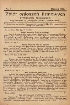 """Zbiór ogłoszeń firmowych trybunałów handlowych : stały dodatek do """"Przeglądu Prawa i Administracji"""". 1920, nr1"""